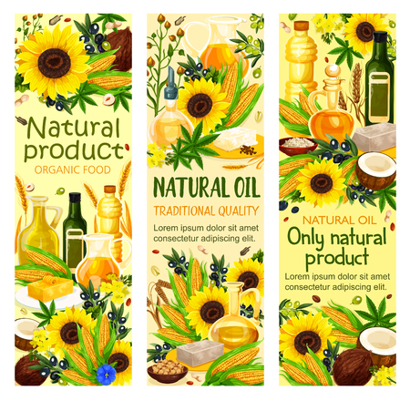 Natural oil banners with sunflower seeds, olive and corn, coconut and wheat spikes, hemp. Vector virgin oils using in cosmetics, pharmaceuticals and soaps, frying food and dressing salads