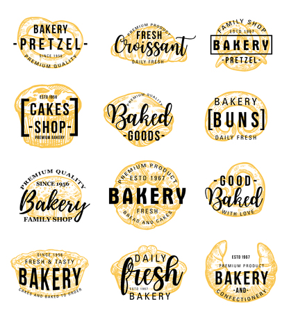 Bakery shop icons with lettering and signs. Vector pretzel and croissant, cake and bun, bread and bagel, cupcake. Confectionery and pastry food of flour, wheat dough and cereal