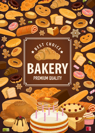 Bakery shop poster, bread or patisserie. Vector wheat bagel and cake, croissant and baguette or ciabatta, donut with glaze, pancake or cheesecake, cupcake and roll with jam. Pastry store  イラスト・ベクター素材