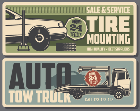 Car repair service, tire mounting maintenance and tow truck. Vector illustration. Auto parts restoration or fixing and vehicle evacuation to garage station. Vintage billboards