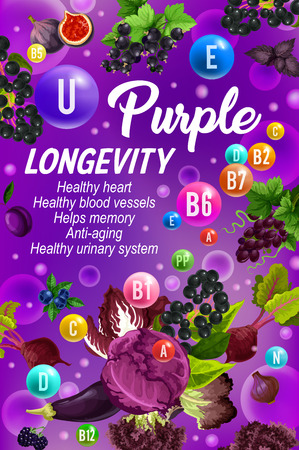 Vitamins B, C, D and minerals, healthy lifestyle and longevity color diet purple day poster. Fruits and vegetables, vitamins in bubbles, vector grocery veggies. Rising immunity concept