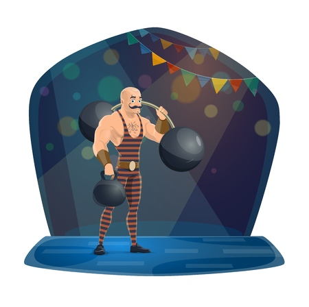 Chapiteau circus, athlete with dumbell and barbell. Vector man, strong muscles, stage performance, trick and strength. Fit character with mustache on big top arena in spotlight, garland and glimmer Illustration