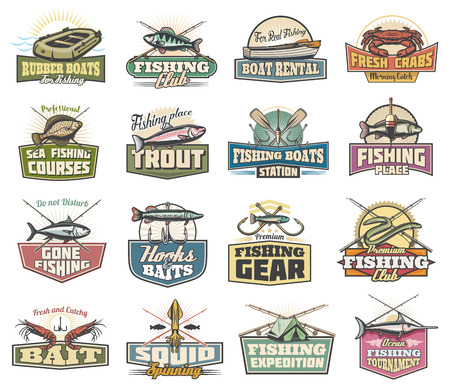 Fishing sport club and fishery vector icons. Rubber boat and rod, crab and trout, hook and paddle. Bait and herring, eel and prawn, squid and camping tent, expedition and tournament symbols