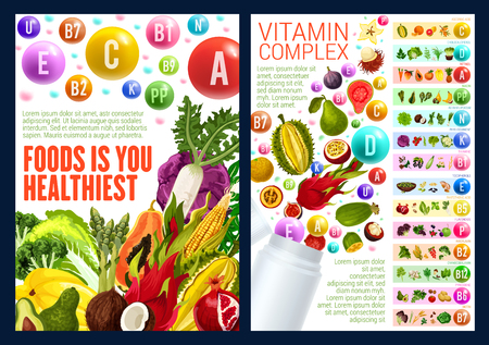 Vitamin E, C and D complex, vector. Additives to food based on fruits and vegetables. Organic veggies and cereal, nut, berry and herb, for dietetics medicine and proper nutrition Banco de Imagens - 111205538