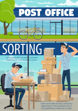 Post mail delivery, postage logistics. Vector postman or mailman working with letter envelopes and parcels. Postal warehouse with boxes and cargo shipping service, open mailbox Ilustração