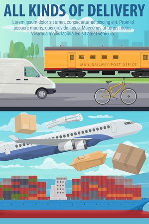 Post mail delivery office, postage logistics. Vector airplane and train, truck and ship, bicycle transport for shipping parcels and boxes. Cargo and freight correspondence transportation