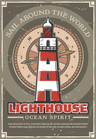Marine lighthouse vintage poster with striped tower with signal on top for ships. Beacon and compass dial on ocean spirit retro leaflet. Nautical shabby brochure with sail around world slogan vector Ilustrace