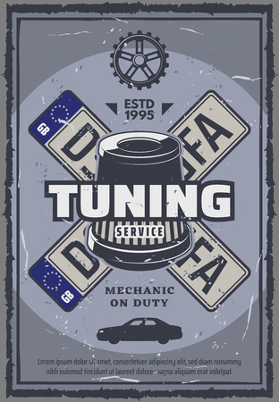 Car tuning and repair service vintage poster. Vector vehicle car plate numbers, fuel and air filter. Auto internal parts fixing or tire change and vehicle restoration, garage station