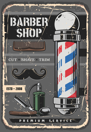 Barbershop vintage vector poster with mustaches and sharp dangerous razor, bottle of cologne and striped barber pole. Man saloon, brutal beauty, beard styling and hairstyle or haircut design Ilustrace