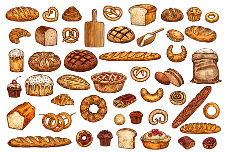 Bread and bakery icons, vector isolated sketches. Loaf and baguette, croissant and cupcake, wheat flour and sweet bun, pretzel and bagel. Natural organic pastry food and cutting board