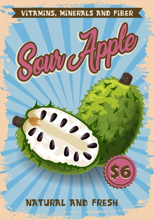 Soursop apple exotic fruit vector price or advertisement poster. Vector design of graviola, guyabano or guanabana. Tropical fruits store or farmer market