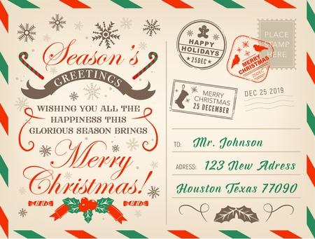 Frohe Weihnachtspostkarte oder Brief, Weihnachtsgrüße mit Briefmarken.