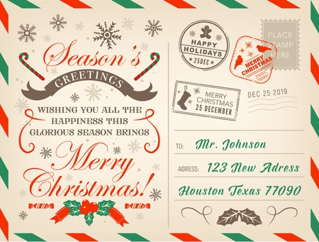 Merry Christmas postcard or letter, Xmas season greetings with stamps.