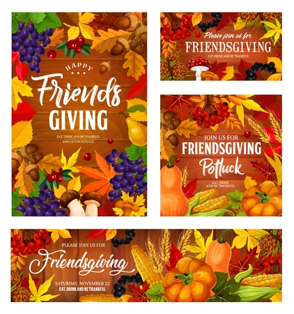 Friendsgiving potluck dinner posters, Thanksgiving friends party holiday posters. Vector Friendsgiving harvest pumpkin or corn vegetables and berries in autumn leaves foliage