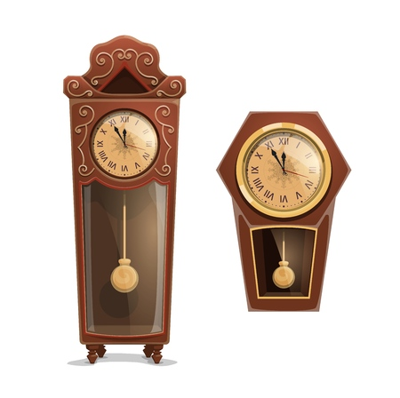 Christmas midnight clock, winter holidays watch. Vintage wooden clocks with golden dials and pendulums, decorated by snowflake and ornaments. Xmas countdown, vector object