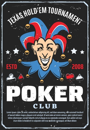 Poker club and gambling game poster. Vector retro design of Joker with playing cards suits of spades, hearts or diamonds and clubs or stars. Casino poker game Foto de archivo - 111265896