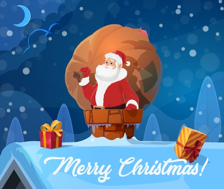Santa Claus on roof in chimney, sack of Christmas gifts. Vector wrapped boxes with bow, winter holiday greeting card, elderly man in costume. Xmas presents delivery, fairy character, Noel or New Year