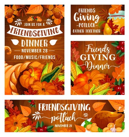 Friendsgiving potluck dinner party of Thanksgiving holiday picnic. Vector Friendsgiving eat and drink feast of friends dinner, turkey and pumpkin or corn, berries and honey in leaves Standard-Bild - 128161789