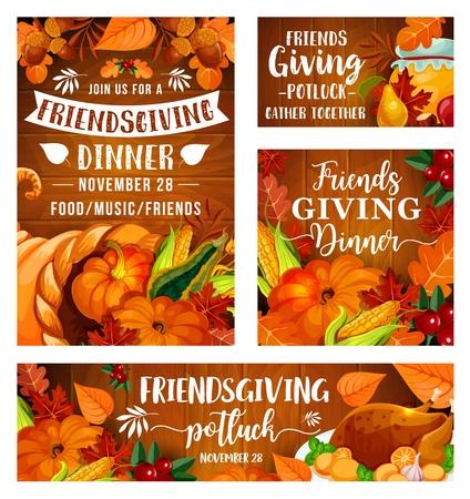 Friendsgiving-Potluck-Dinnerparty von Thanksgiving-Feiertag-Picknick. Vector Friendsgiving Essen und Trinken von Freunden Abendessen, Truthahn und Kürbis oder Mais, Beeren und Honig in Blättern