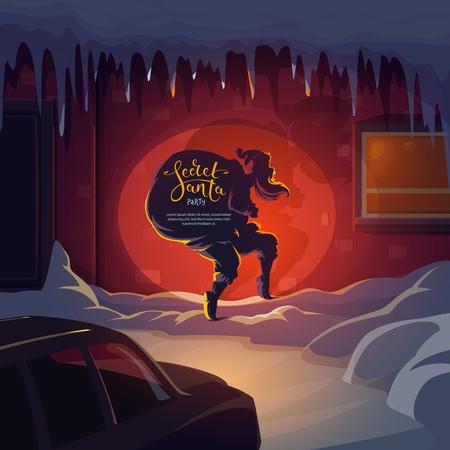 De kerstman loopt op zijn tenen met een cadeauzakje naar het geheime kerstcadeau. Vector Secret Santa stripfiguur, Nieuwjaar wintervakantie wenskaart of uitnodiging