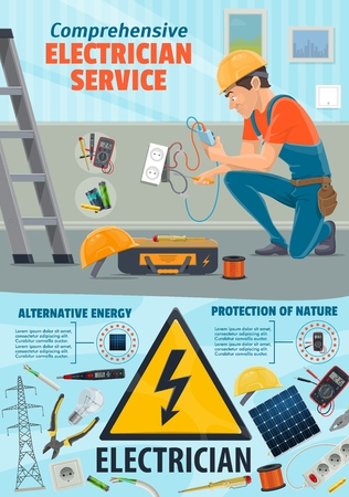 Electrician worker and electricity repair tools. Power repairing equipment of socket and wires, solar battery and ladder, pliers and hard hat. Dangerous profession with ammeter and multumeter