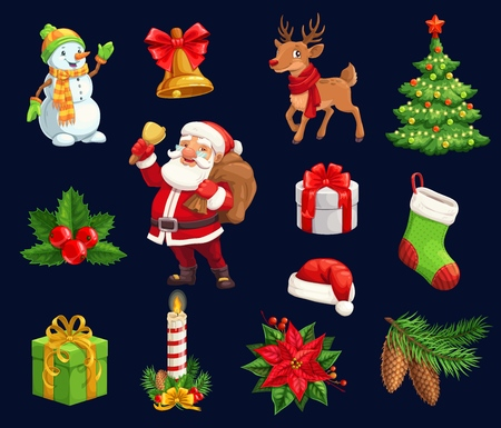 Christmas holiday icons, characters. Vector isolated cartoon pine tree, deer and holly berry, candle and bell, hat and poinsettia, Santa and snowman with gifts, stocking sock and wreath