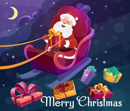 Weihnachtsmann auf Schlitten mit Tasche oder Sack voller Weihnachtsgeschenke, die Weihnachtsgeschenke liefern. Eingewickelte festliche Schachteln, Schleifen und Bänder, Nachthimmel und Mond. Noel Märchenlandschaft, Neujahrskarte