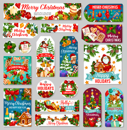 Christmas and New Year tags or labels, winter holiday gift. Xmas tree with gift, bell and ball, Santa, snowman and present, holly garland, candle and cookie, calendar and ribbon banner with greetings