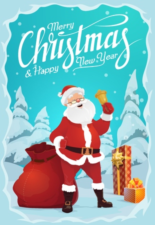 Merry Christmas and Happy New Year greeting card. Vector Santa Claus and gold jingle bell, gift box and sack of presents. Winter holiday celebration, forest in snow, fairy character and fir or spruce Foto de archivo - 128161795