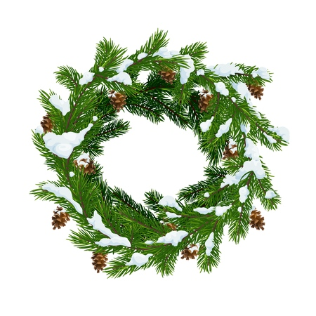 Christmas wreath of fir and pinecones in snow. Merry Christmas and Happy New Year vector Xmas tree decoration wreath with cones and snowflakes