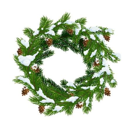 Weihnachtskranz aus Tannen und Tannenzapfen im Schnee. Frohe Weihnachten und ein glückliches neues Jahr vektor Weihnachtsbaumdekorationskranz mit Zapfen und Schneeflocken