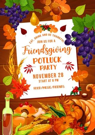 Friendsgiving-Potluck-Party des Thanksgiving-Feiertags. Herbsternte Kürbisgemüse und -früchte in Füllhorn, Truthahn, Wein und Laub, Trauben, Eicheln und Weizen. Vektordesign Vektorgrafik