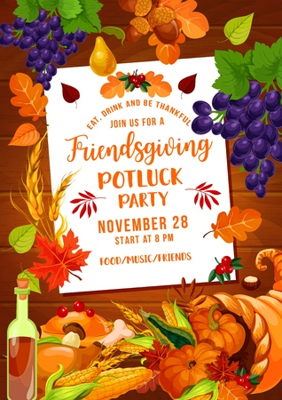 Friendsgiving potluck party of Thanksgiving holiday. Autumn harvest pumpkin vegetables and fruits in cornucopia, turkey, wine and fallen leaves, grape, acorn and wheat. Vector design Illustration