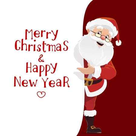Vector Santa Claus and paper with Merry Christmas and Happy New Year wishes. Winter holiday celebration, fairy character. Elderly man in red costume and hat, beard and belt, boots and glasses
