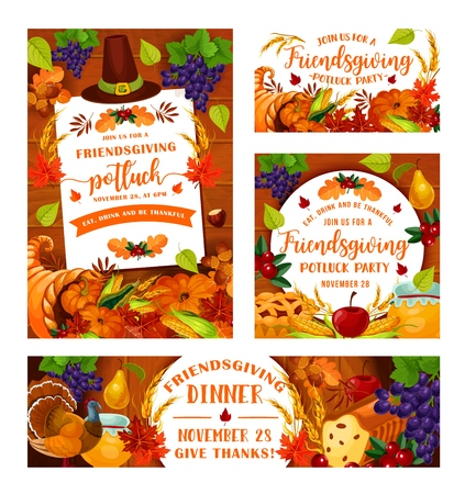 Friendsgiving potluck dinner party of Thanksgiving holiday. Vector Friendsgiving feast or friends dinner eat and drink of autumn pumpkin harvest and leaves foliage
