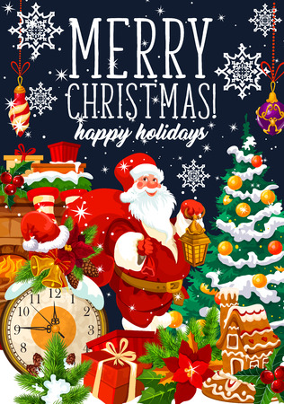 Merry Christmas greeting card of Santa, gifts and Xmas tree. Vector golden bell and gingerbread cookie, fireplace or chimney, clock and snowflakes of winter holiday celebration