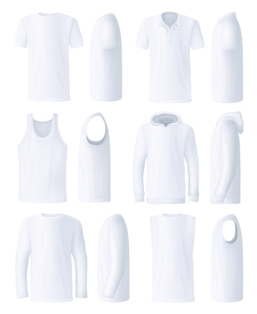 T-shirt and polo, shirt and hoodie, sweatshirt and sleeveless top. Male clothes elements templates in white. Basic garments for men from front and side views. Sport and active vector clothes