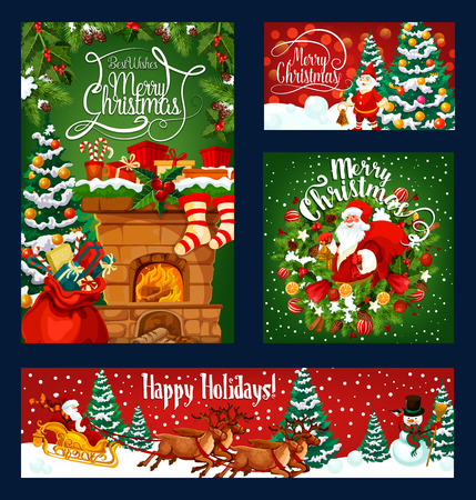 Merry Christmas greeting template on red and green snow background. Vector Xmas pine tree, balls and bell, snowman and gift stockings on fireplace chimney, Santa sleigh and holiday wreath Illustration
