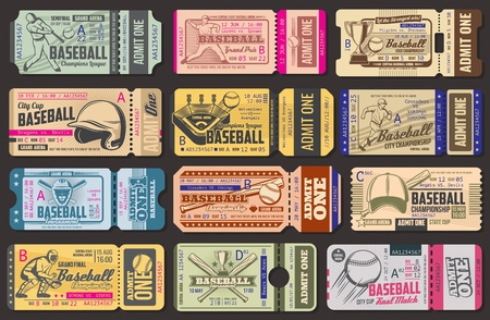 Baseball championship retro admission tickets. Sport item and sportsman in uniform with bat and ball, helmet and stadium, gold cup and cap. World sporting tournament vintage vector tickets