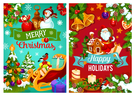 Christmas holiday gifts and Santa sleigh vector greeting. Xmas tree and holly berry with bell, ball and present, Santa, snowman and candle with ribbon banner, snowflake and star. Xmas theme