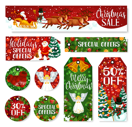 Christmas winter holiday sale tags, gift discount price special offer. Vector Xmas tree, snowman and Santa reindeer sleigh, holly berry wreath, bell and ribbon bow for retail sale seasonal design Illustration