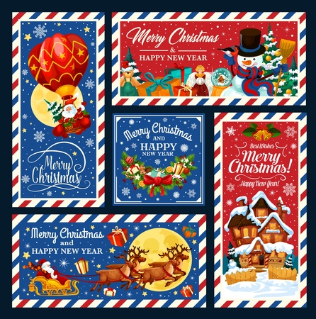 Merry Christmas and Happy New Year postcards with Santa Claus on reindeer sleigh and air balloon, gifts, snowman and Xmas garland, snowy house, presents and bells. Winter holidays, vector postcard