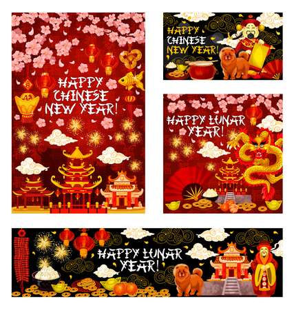 Happy Chinese New Year greeting card and banners of golden dragon and traditional lunar holiday celebration decorations. Vector golden dragon in clouds and Chinese cherry blossom