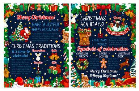 Frohe Weihnachten und Neujahr Gruß-Vektor-Banner. Winterurlaubsgeschenk, Weihnachtsmann und Weihnachtsbaum, Schneemann, Glocke und Kerze, umrahmt von Stechpalmenbeere, Schleife und Süßigkeiten, Keks, Schneeflocke und Stern