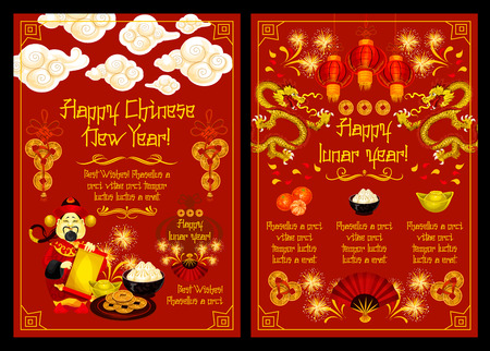 Happy Lunar Year greeting card of Chinese Spring Festival design. Golden dragon, red lantern and fortune coin festive poster with god of wealth, asian food and fan, firework and parchment scroll