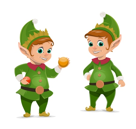 Christmas elves cartoon characters of Santa Claus helpers. Vector dwarfs or little peoples in green suits and hats with Xmas tree balls and baubles. Gift workshop workers, winter holidays design Ilustração