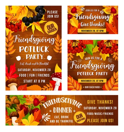 Friendsgiving potluck dinner party poster. Vector Thanksgiving holiday or Friendsgiving eat and drink feast harvest, mushrooms, autumn leaves foliage and berries