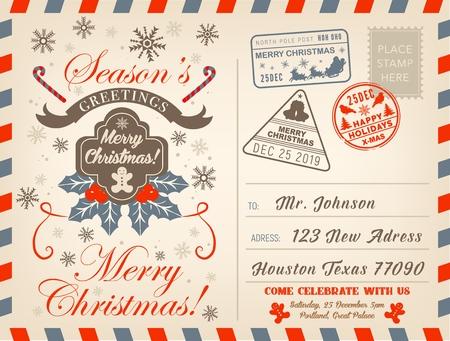 Frohe Weihnachtspostkarte mit saisonalen Winterurlaubsgrüßen und Briefmarken. Vektorweihnachtsbaumschmuck, Weihnachtsgeschenke im Rentierschlitten, Schneeflockenmuster und Weihnachtslebkuchenplätzchen Vektorgrafik