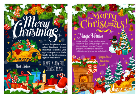 Merry Christmas greeting card and best wishes, Xmas winter holiday. Vector Christmas tree decorations and Santa in sleigh with gifts at fireplace chimney, holly wreath and New Year snow Stock Illustratie