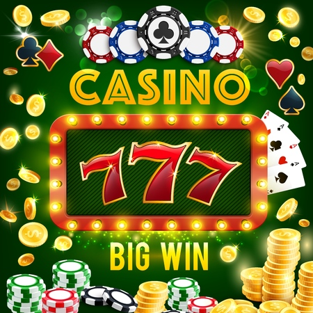 Casino gambling, poker and roulette wheel, slot machines. Vector play cards and poker chips, coins and 777 combination signboard with lamps. Gamblers club with money stakes win and easy earning